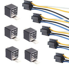 Lot5 Black Iron Back Car DC 12V 40A AMP SPST Relay 4Pin & 4 Wire Relay Plug