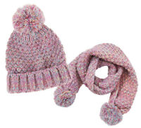 Girls Pink Hat Scarf Set Back To School Knitted Winter Pom Poms Beanie Gift Idea