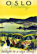 ART AD Oslo Norvège twiight Travel DECO Poster Print