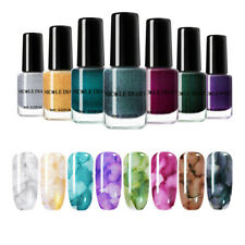 8 Bottles/Set NICOLE DIARY 6ml Watercolor Marble Ink Nail Polish Glitter Varnish