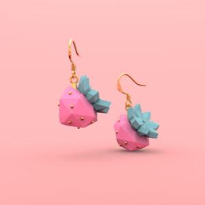 Designer fruit 3D strawberry wacky earrings fashion jewelry eardrops