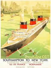 Travel TRANSPORT FRENCH LINE Schiff Liner Boot Stadt Meer Frankreich Poster bb8493b
