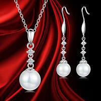 Rhinestone Crystal Pearl Necklace Earring Women Wedding Bridal Jewelry Set Gift