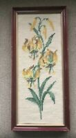 Vintage Framed Needlepoint Finished Picture Honeysuckle Lilies Flowers Yellow