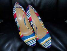 Nine West Wild Thingo Multi-Colored Striped Wedges Heels Shoes Size 8 1/2 EUC