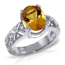 Platinum Plated 925 Sterling Silver Ring w/ Natural Diamonds & Citrine