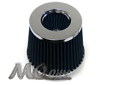 """3.5"""" 89mm Flange x 6"""" H Round Cone Dry Cold Air / Short Ram Intake Filter BLUE"""