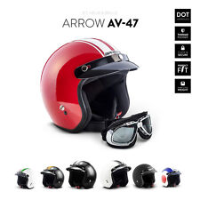 ⛑ ARROW AV-47 CASCO MOTO DEMI JET ⸺ MOTOCICLETA SCOOTER URBANO HELMET ⸺ XS–XXL
