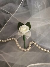 CHILDS / CHILDRENS IVORY FOAM ROSE SMALL BUTTONHOLE - WEDDINGS PAGEBOY / USHER