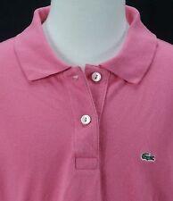 Women's Lacoste Pink S/S Crocodile Slim Fit Stretch Pique Polo Shirt - Sz M (40)