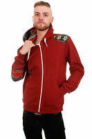 MENS INDIE EMO RETRO AZTEC PATCH FLEECE HOODED TOP CLARET SIZES XS S