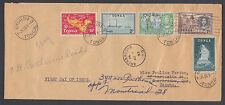 Tonga Sc 100-104 FDC. 1953 definitives, first 5 values, forwarded to Montreal