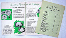 3 BOOKLETS SEALTEST CHRISTMAS CAMPBELL'S SCHENLEY RECIPE COOKBOOK MIXOLOGY BAR