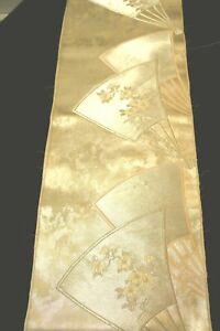 "f-053 vintage silk brocade obi fabric - fan - 12-1/2"" x 48"""