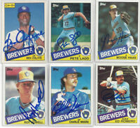 (6) 1985 Milwaukee Brewers signed cards Topps AUTO lot Oglivie Moore Haas Ladd