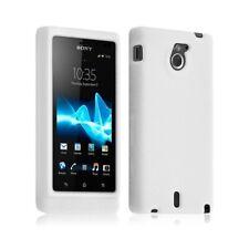 Housse coque étui silicone semi translucide pour Sony Xperia Sola couleur blanc