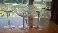 Etched Champagne Glasses Tall sherbets married set 4 6 oz bulb stem glasses