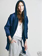 NEW Free People Jacket blue knit Mixed Slouchy Oversized hooded Coat S