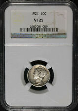 1921 Mercury Silver Dime. NGC VF25. Key Date, Good Solid Coin, Issue Free