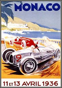 car racing vintage print monaco 1930 europe classic old poster painting
