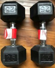 Weider 25lb Dumbbells Pair Set Of 2 - 50lbs Total Rubber Coated Hex Brand New