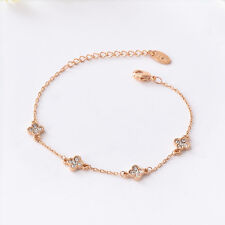 New 18K Rose Gold Filled 6mm CRYSTAL Clover Leaf Four Charm Bracelet Bangle Slim