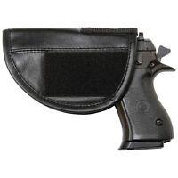 Black Leather GUN HOLSTER Hidden Mount Soft Storage Pistol Case Hand Carry Pouch