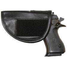 GUN HOLSTER Black Leather Hidden Mount Soft Storage Pistol Case Hand Carry Pouch