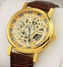 Luxury Men's Hollow Skeleton Manual Mechanicall Stainless Steel Wrist Watch-Gold