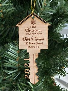 Our First Christmas in Our New Home 2021 Christmas Wood Ornament Xmas Ornaments