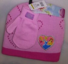 TODDLERS 2 PC SET 1 HAT 1 PR MITTENS 1 SIZE FITS MOST DISNEY PRINCESS HEART A-20