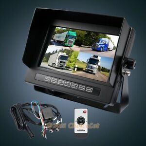 """4 Channel 7"""" Full Quad Display Colour Monitor For Car Reversing Video Camera"""