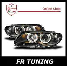 BMW SERIE 3 E46 FARI FANALI ANTERIORI A LED ANGEL EYES FONDO NERO TUNING 03>06