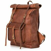 New Leather Backpack Hiking Bag Leather Travel Retro Rucksack Satchel Roll Top