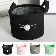 KF_ Cotton Linen Storage Box Bin Closet Toy Container Organizer Fabric Basket