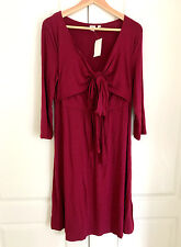 GAP Maternity Dress M Red Front Knot Tie 3/4 Sleeve Flare Square Neck Rayon New