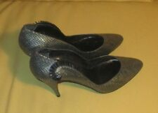 STUNNING MODIGLIANI SILVER AND BLACK DESIGNER LEATHER WOMENS SHOES SIZE 8 M