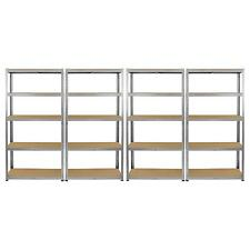4 Galvanised Steel Racking Garage Storage Shelving 5 Tier Shelves 75cm Wide Bay