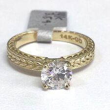14K Yellow Gold Solitaire Leaf Pattern Cubic Zirconia Engagement Ring, 6.5mm CZ