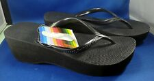 NOS HAVAIANAS Flip Flop Sandals Black Fashion High Look Size 5 1/2 - Tag NEW
