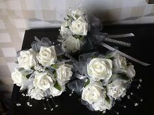 TWO X MAIDS BRIDAL WEDDING FLOWER IVORY FOAM ROSE/SILVER GREY TRIM POSY BOUQUETS