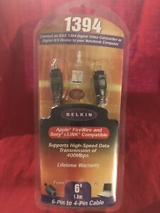 Belkin 4 Pin to 4 Pin 6 feet Apple - FireWire - Sony - i.Link High Speed Cable