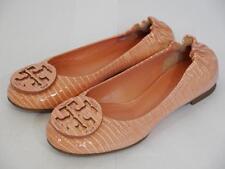 41702c5c4829dc NEW Tory Burch Reva Snake Embossed Patent Ballet Flat Orange Coral Sz 4