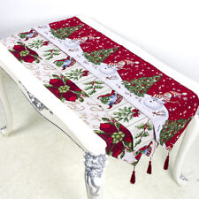 Embroidered Christmas Xmas Tablecloth Table Runner Party Home Dinner Decoration