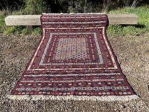 Hand-Knotted Vintage Soumak Carpet 200 x 130 cm Soumak Naural Dye Rug