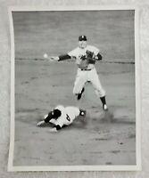 Vintage 1954 Baseball Wire Press Photo of Pee Wee Reese & Yogi Berra Double Play