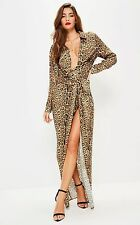 nude leopard print wrap front maxi dress s8 Missguided RRP60£