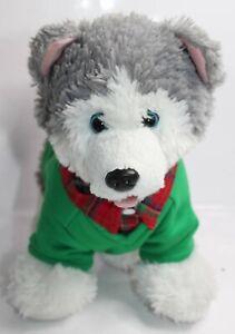 BABW Build A Bear Promise Husky Puppy Dog Gray White Stuffed Plush Preppy Shirt