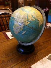 "Vintage 12"" Cram's Universal Terrestrial Globe On Heavy Black Metal Stand"