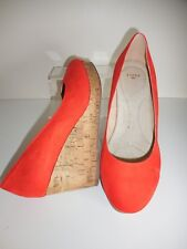 Orange Faux Suede Wedge Shoes Size UK 6 Wide Fit (EEE) BNIB ~~ Evans
